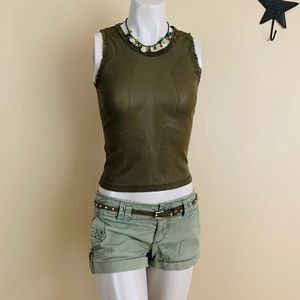 Kenneth Cole Sheer Olive Green Tank Top
